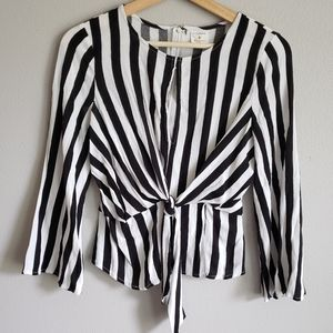 Anthropologie Vertical Stripe Blouse with Tie
